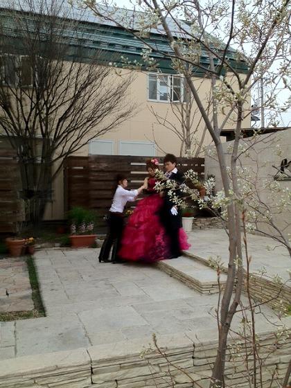 ガーデンでカラードレス撮影